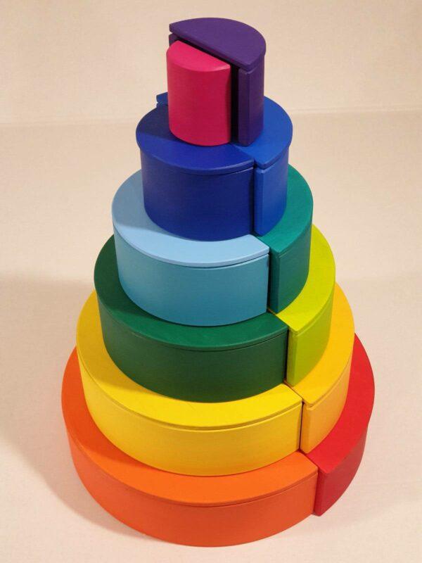 El arcoiris Waldorf + Semicirculos de madera